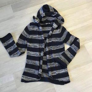 ROXY Striped Hooded Casual Tunic Shrug Cardigan